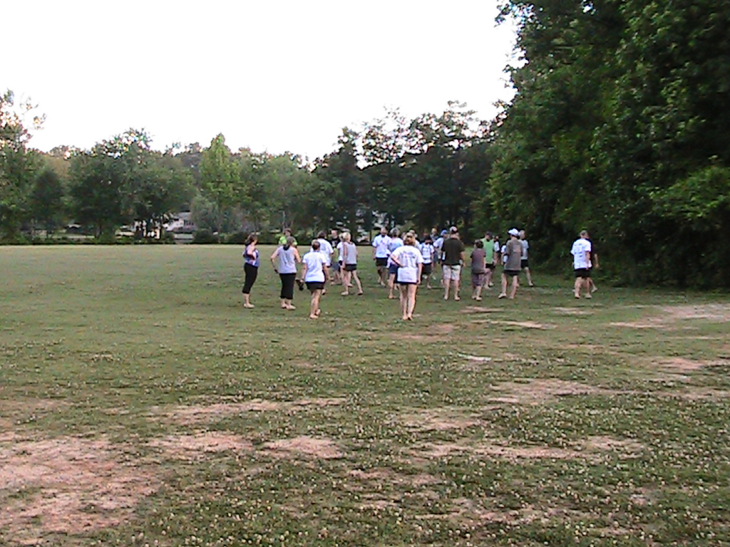 Barefoot running with a group can be even more fun. 20110 May 31 Peachtree City, Georgia