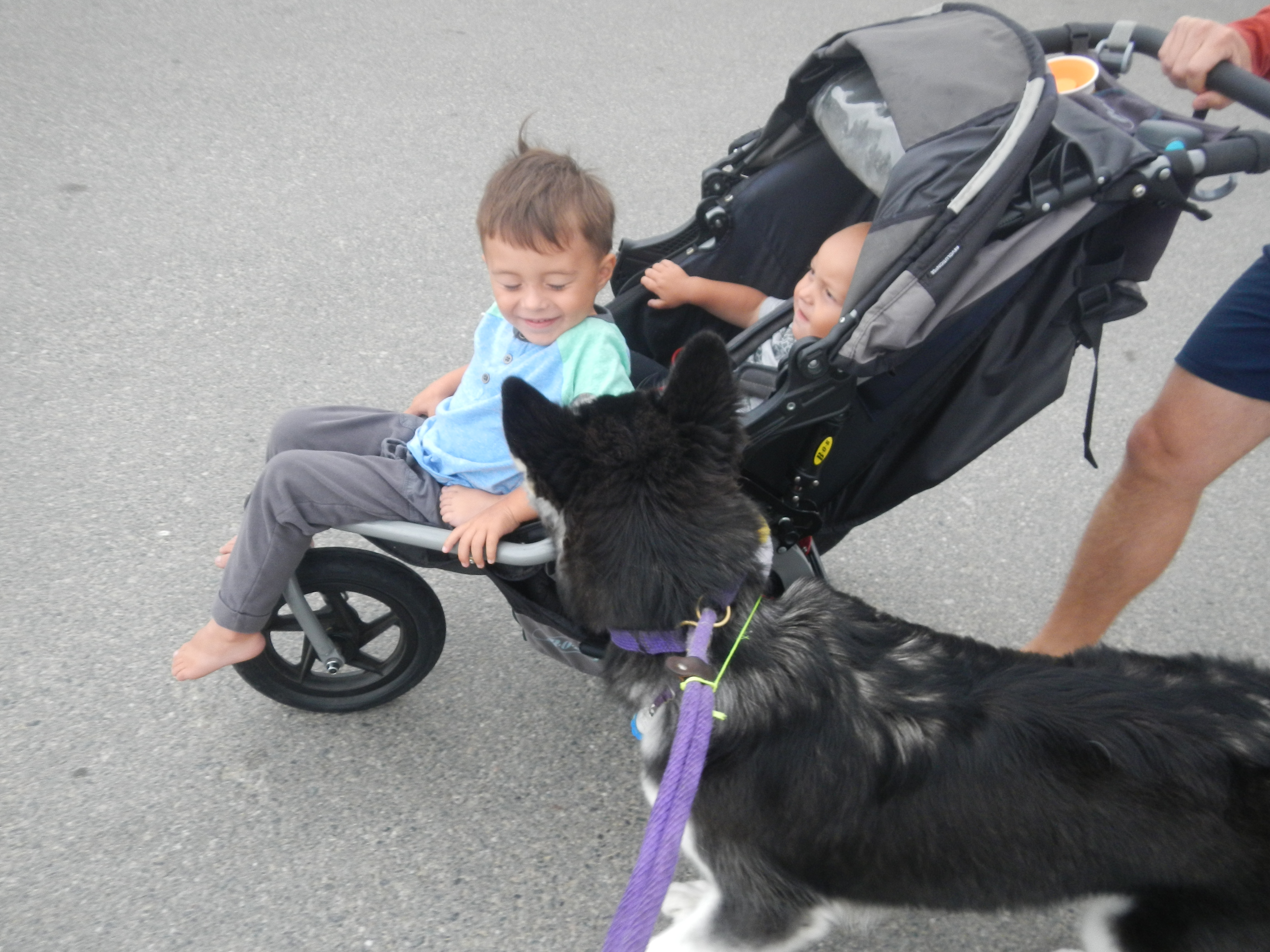 Kay looking at Alan's oldest son in stroller