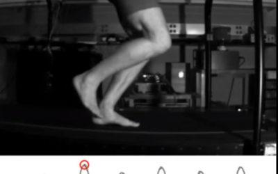 Image of Ken Bob's foot landing while running on treadmill