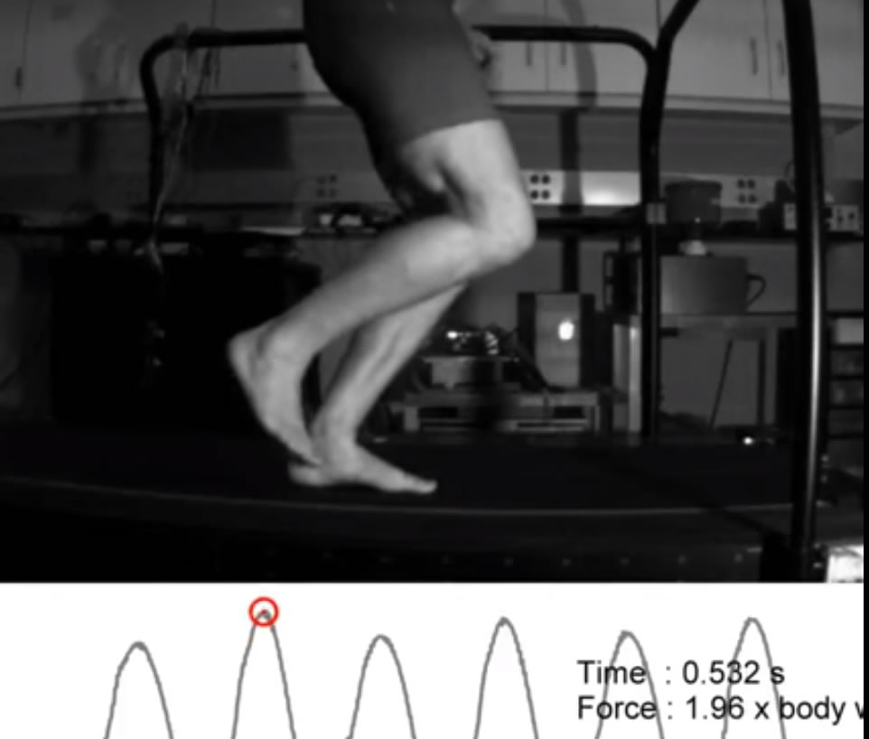 Image of Ken Bob's foot landing while running on treadmill