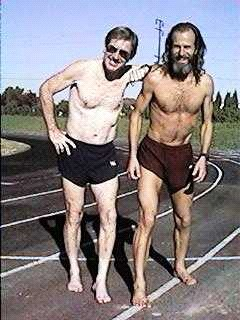 1998 Bob Norton, Ken Bob Saxton; two barefoot runners NOT competing in the 2017 Desert Solstice (were both old men now)